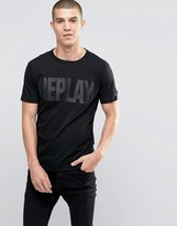 Replay Tonal Logo T-Shirt in Black