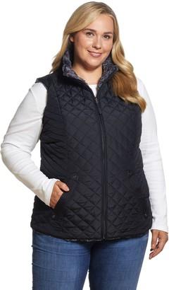 Plus Size Weathercast Quilted Reversible Faux-Fur Vest