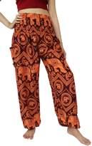 NaLuck Women's Boho Hippie Elephant Jumpsuit Smocked Waist Yoga Harem Pants PJ07