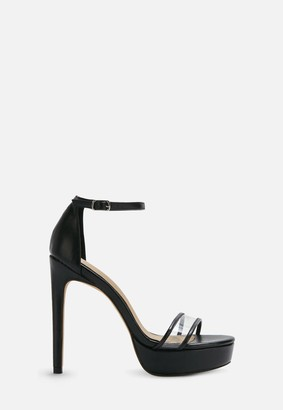 Missguided Black Clear Strap Platform Heels