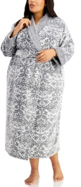 Charter Club Plus Size Long Floral Cozy Robe, Created for Macy's