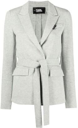 Karl Lagerfeld Paris Belted Jersey Blazer Jacket