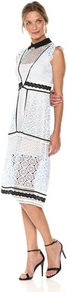 Bebe Women's Lace Aline Dress with Black Trim and Collar