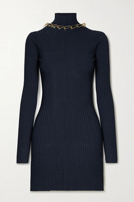 Dion Lee Chain-embellished Open-back Ribbed-knit Mini Dress - Midnight blue