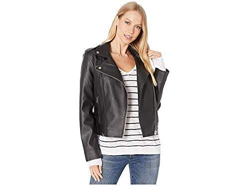 d7b23416a Junior's Moto Finish Textured Vegan Leather Jacket