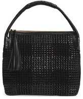 Tory Burch Taylor Woven Leather Hobo Bag - Black