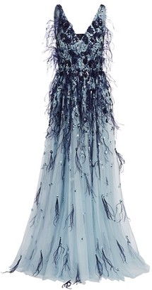 Pamella Roland Embellished Sequin & Ostrich Feather Tulle Gown