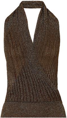 Missoni Wrap-effect Metallic Crochet-knit Halterneck Top