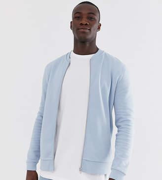 Asos Design DESIGN Tall jersey bomber jacket in light blue