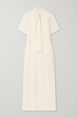 Chloé Pussy-bow Pleated Silk-georgette Maxi Dress - Ivory