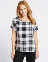 Marks and Spencer PETITE Modal Blend Checked Shell Top
