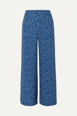Faithfull The Brand Gabrielle Floral-print Crepe Wide-leg Pants - Royal blue
