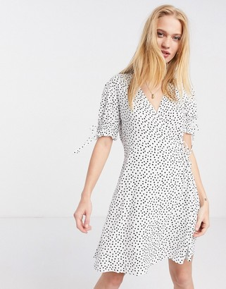 Pimkie wrap detail mini dress in dot print