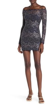 Jump Vine Sequin Lace Off-the-Shoulder Mini Dress