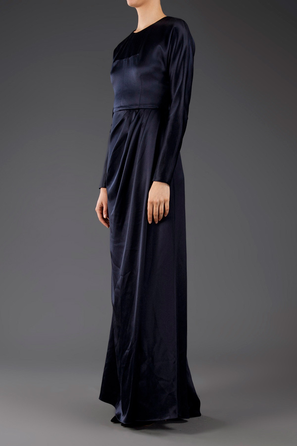 Prabal Gurung Long Sleeve Backless Gown