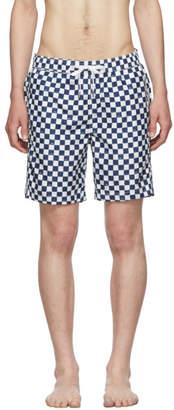 Onia Blue Hand Drawn Checker The Charles 7 Swim Shorts
