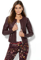 New York & Co. Cable-Knit Textured Faux-Leather Jacket