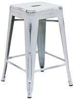 """Flash Furniture Backless Distressed White Metal Indoor Counter Height Stool, 24"""""""