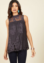 ModCloth Come to Your Incenses Sleeveless Top in Charcoal in S