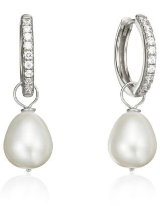 Lily & Roo Silver Diamond Style Large Pearl Drop Hoop Earrings