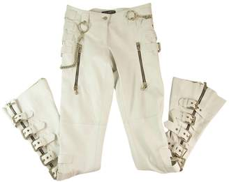 Dolce & Gabbana White Leather Trousers