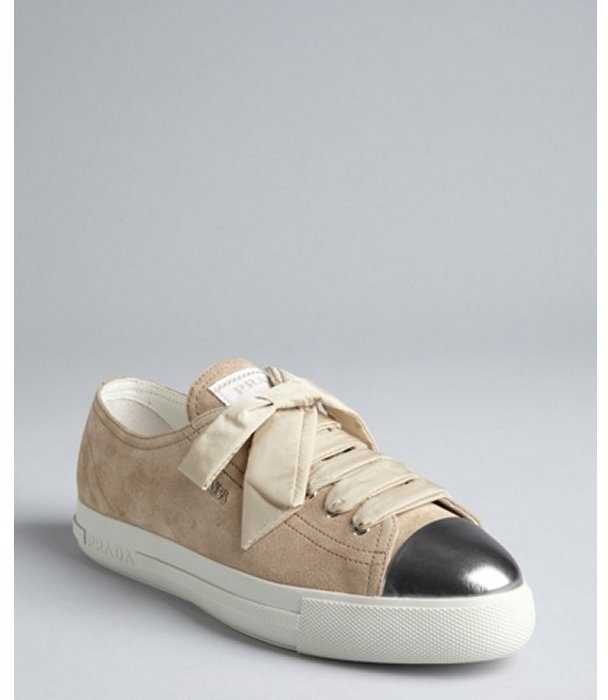Prada Sport sand leather metallic cap toe sneakers