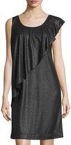 See by Chloe Ruffled Sleeveless Shift Dress, Black