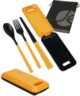 JAVOedge Orange Foldable Compact Style Travel Utensil Set with Spoon, Fork, Chopsticks with Bonus Drawstring Bag
