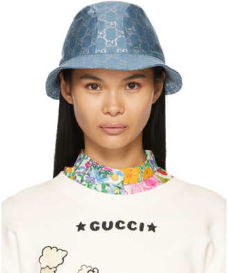 Gucci Blue Lame GG Bucket Hat