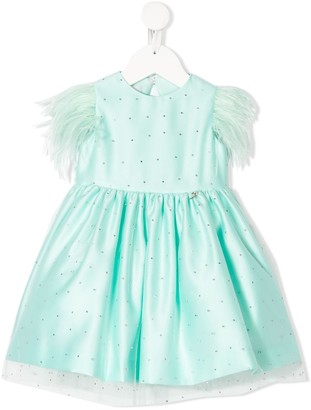 Petit Embellished Feather Trim Dress