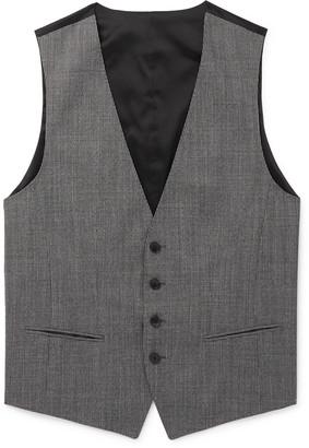 HUGO BOSS Grey Slim-Fit Puppytooth Virgin Wool Waistcoat