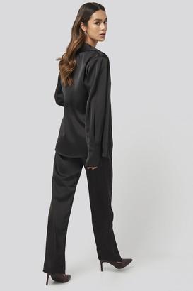 NA-KD Wide Leg Satin Suit Pants Black