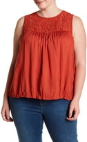 Melrose and Market Sleeveless Lace Yoke Blouse (Plus Size)