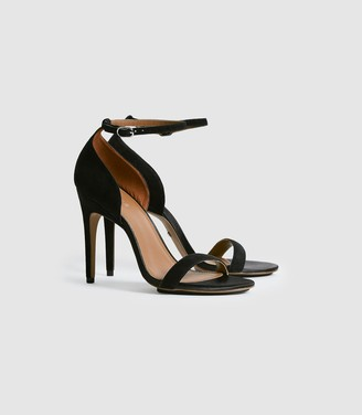 Reiss Paula - Suede Strappy Sandals in Black