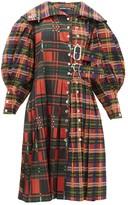 Chopova Lowena - Balloon-sleeve Tartan-print Taffeta Dress - Womens - Brown Multi