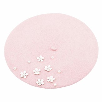 Idiytip Lightweight Casual Classic Solid Color Wool Daisy Pearl Beret Newsboy Cabbie Cap for Women Autumn Winter (Pink)