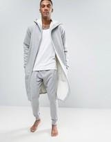 Asos Loungewear Fleece Back Robe In Gray