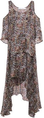 IRO Cold-shoulder Asymmetric Tiered Zebra-print Silk-voile Dress