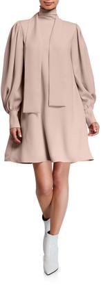 ADEAM Tie-Neck Full-Sleeve Dress