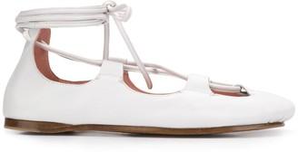 Lanvin square toe lace-up ballerinas