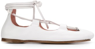 Lanvin Square Toe Lace-Up Ballerinas
