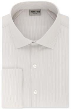 Kenneth Cole Reaction Men's Techni-Cole Slim-Fit Flex Collar Three-Way Stretch Performance Stripe French Cuff Dress Shirt