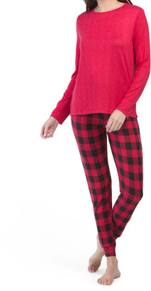 3pc Holiday Hounds And Plaid Packaged Pj Set