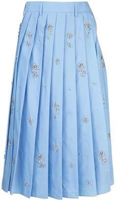 Prada Floral Embellished Pleated Midi Skirt