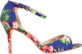 Yours Clothing Multi Tropical Print Heeled Sandals With Ankle Strap In EEE Fit