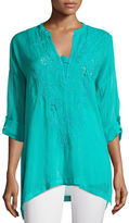 Johnny Was Lusana Embroidered Georgette Top