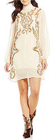 Free People Just Like Heaven Embroidered Sequin Shift Dress
