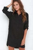 Honey Punch City Strut Black Shirt Dress