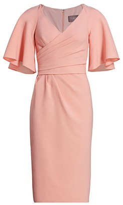Theia Asymmetric Wrap-Front Midi Dress