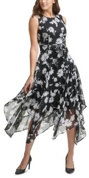 Calvin Klein Floral-Print Chiffon Handkerchief-Hem Midi Dress